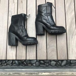 Ash | Black Block Heel Leather Ankle Boot